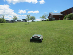 The Robomow RS622 in action, mowing a rural large lawn in Vermont. Courtesy photo