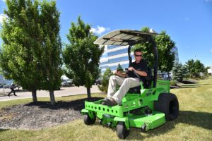 Mean Green's electric zero-turn mower with the optional Solar Assist Module. Courtesy photo.