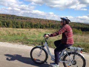 Linda Chesaux of Calais owns three electric bikes.