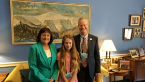 Citizens Climate Lobby's (CCL) NH South Central chapter leader volunteer, John Gage with his daughter meet with Representative Ann Kuster of New Hampshire in Washington D.C. They were among the 1000 CCL volunteers who lobbied 500 congressional offices in teams on June 13, 2017. Photo courtesy John Gage.