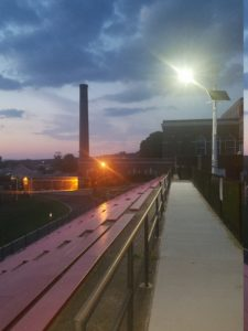 Nightfall at the Washington Irving school – lighting from renewable off-grid power. Photos: Aris Wind..