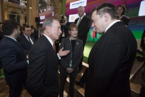 Michael Bloomberg speaking with Elon Musk at the Climate Summit for Local Leaders. All images courtesy of St. Martin's Press