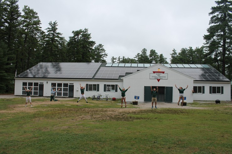 A 42.6kW solar PV array installed on the roof of Camp Huckins' dining hall. The array consists of 142 solar panels, each rated at 300 watts. Photo courtesy of Camp Huckins.