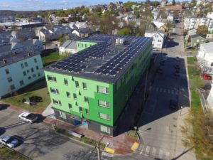 Bayside Anchor apartments includes 167 rooftop solar panels to produce 70,000 kWh of clean electricity. Photo: Matthew Drost, courtesy of Avesta Housing.