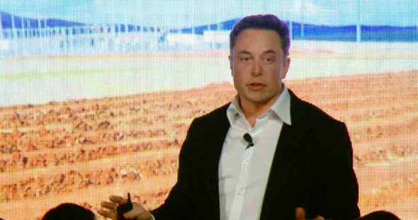 Elon Musk at the unveiling of the Big Battery (Screenshot from Tesla presentation video)