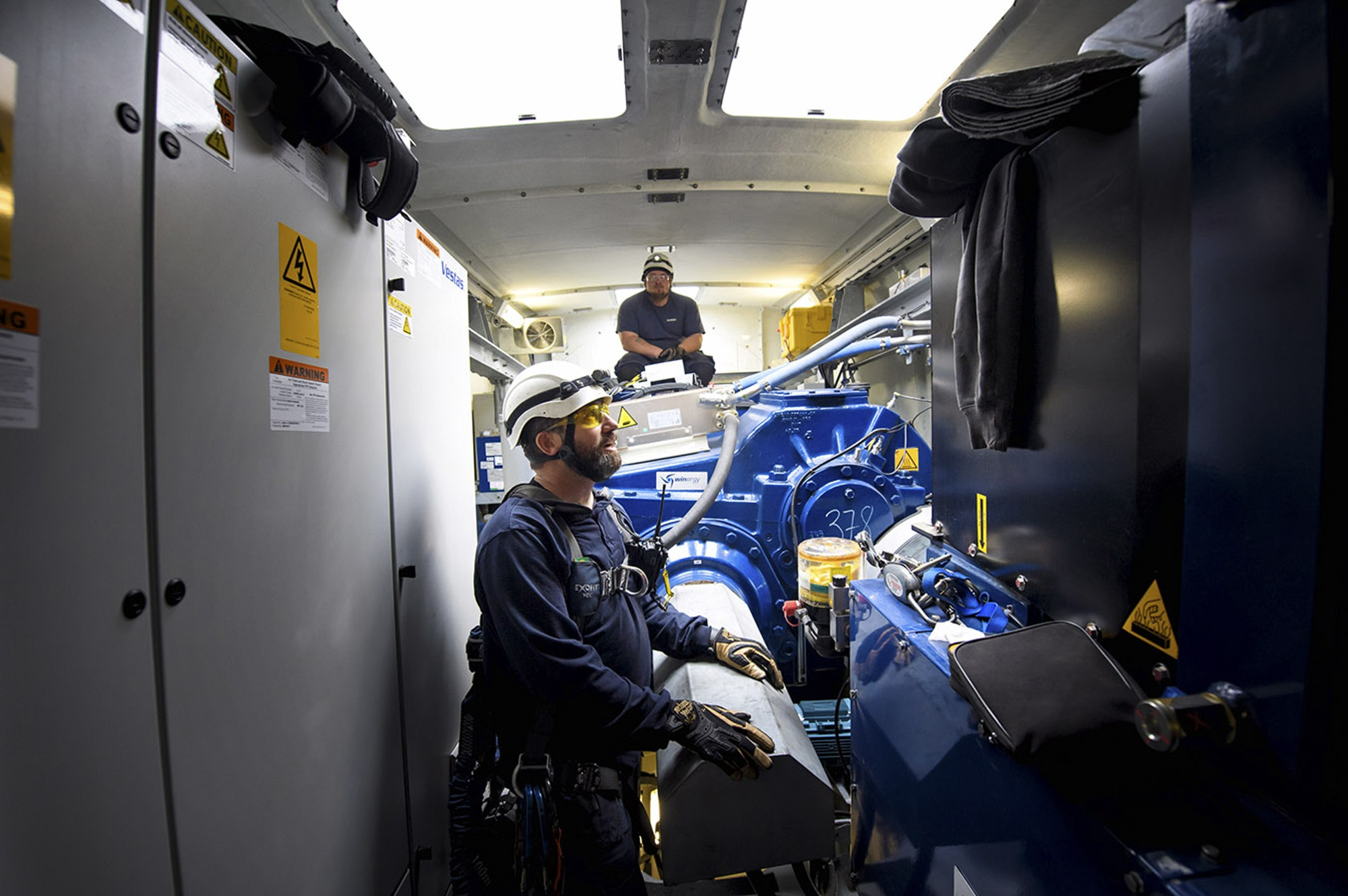 Inside the nacelle of a Vestas turbine (Glen Stubbe | Star Tribune)