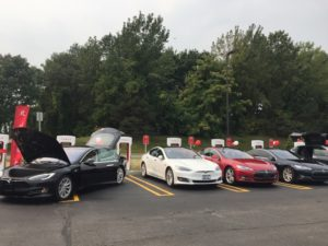 wenty TESLA Supercharger stations at the Crossgates Mall in Guilderland, NY can charge a TESLA in 30 minutes. Photo credit Baker Public Relations.