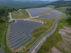 Elizabeth Mine Solar Farm consisting of 19,990 solar modules of 345 watts. It is expected to generate enough electricity each year for about 1,200 families. Photo courtesy of Weston and Sampson Engineers.