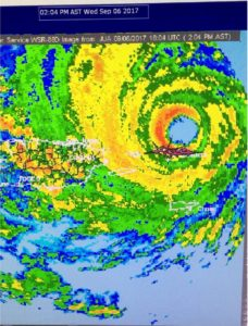 The eye of Hurricane Irma as it grazes the northern shore of St. Thomas on September 6, 2017 as a strong category 5 storm. Red lines are warning boxes. Puerto Rico is to the left and St. Croix to the south. Credit: National Weather Service Puerto Rico/Virgin Islands Radar.