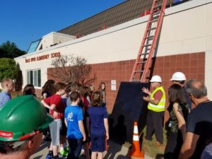 Hollis students learning about energy and their new solar PV system. Photo courtesy NECSS.