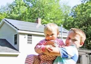 Matt Thomas and his family are living a solar dream thanks to the help of ReVision Energy, a well-known solar installation company from Portland, Maine. Pictured above are his two children. Photos courtesy of ReVision Energy.