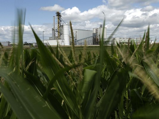 Corn field and ethanol plant (Photo: Associated Press)