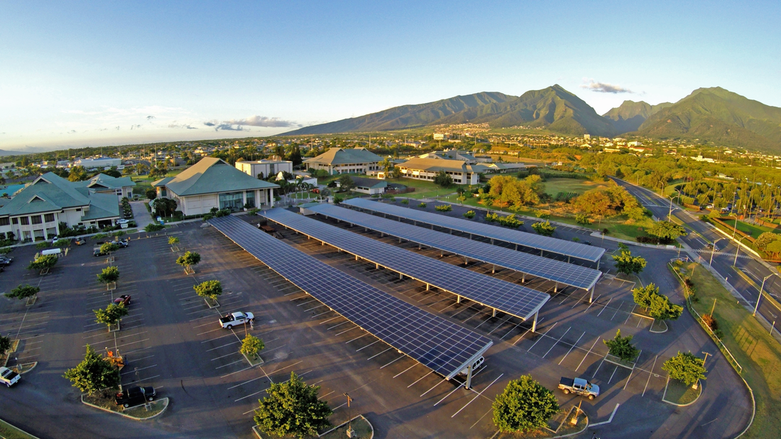 Over 750kW of PV carports installed at UH Maui College by HNU Energy was the first major step toward UH Maui College's vision to become the nation's first net-zero college campus. Courtesy HNU Energy.