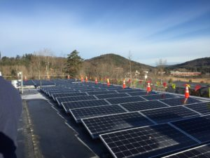 A 134-kW rooftop solar array was inaugurated in November 2017 at the DHMC's Heater Road facility.  The 378 solar panels will offset 10% of the electrical demand of the Heater Road DHMC building. Photo courtesy of Norwich Solar Technologies.