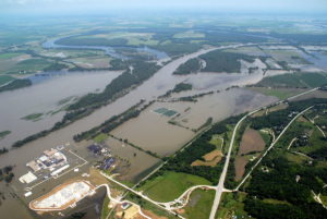 Fort Calhoun, during a flood in 2011 (US Army Corps of Engineers photo)