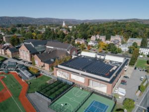 An aerial view of the new solar panels on the roof of Berry Sports Center at Dartmouth College in Hanover, NH. Photo by Robert Gill.