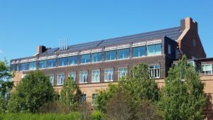 The MacLean Engineering Sciences Center has a 53.7-kW solar array with an annual generation of 70,000-kW consisting of 179 panels. This system has an annual CO2 offset of 73,710 pounds. This solar array was commissioned in August 2017