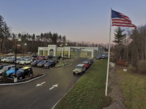 Front view of Contemporary Automotive's new eco-friendly designed dealership in Milford, NH makes use of energy efficient LED lighting throughout the facility. Courtesy photo