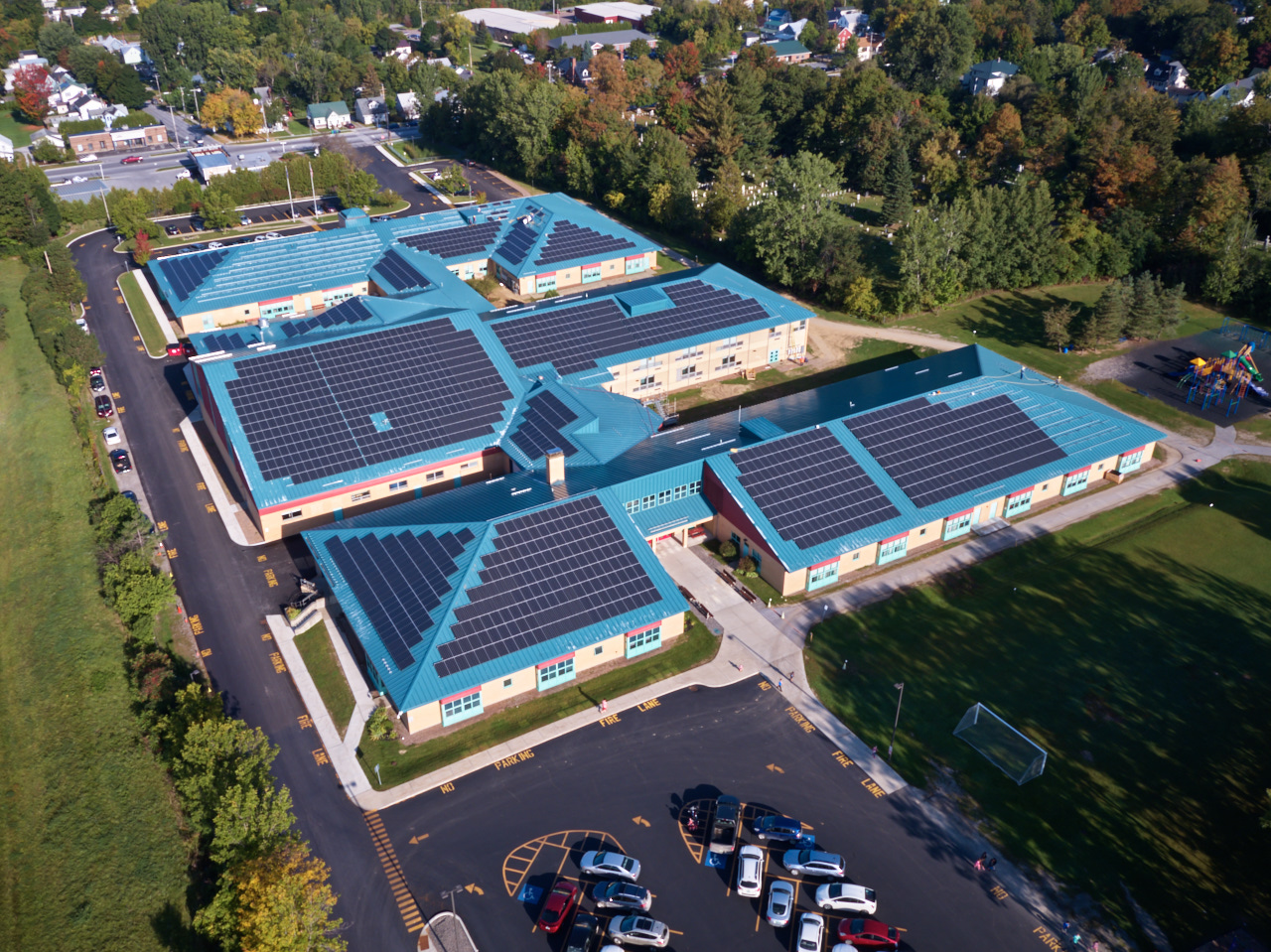 A flyover view of the St. Albans Town Educational Center's array. Courtesy of SunCommon.