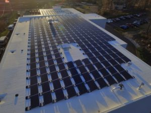 Contemporary Automotive's new facility has a 135kW rooftop solar PV array consisting of 450 panels. The array will generate approximately 149,700 kilowatt hours of clean energy each year and will offset the majority of the dealership's electric load while offsetting 157,634 pounds of carbon pollution per year.