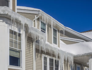 Snow build-up and icicles can damage your roof. Proper air-sealing and insulation can help avoid this problem. Photo credit allstate.com