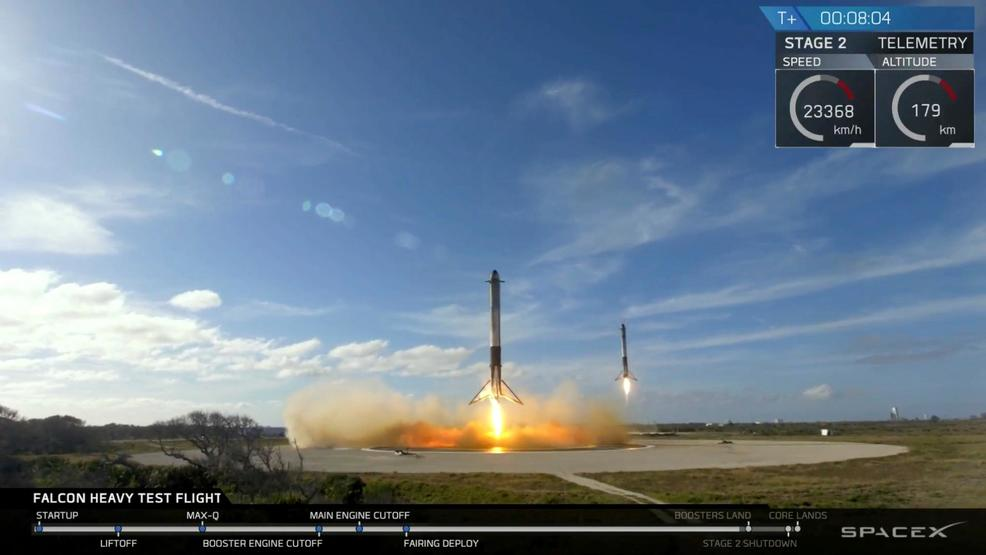 Two booster rockets returning to Earth for reuse (Photo: SpaceX)