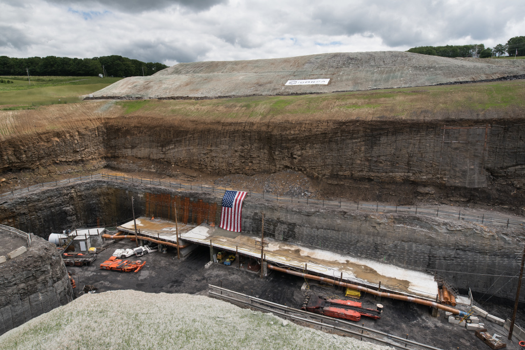 Corsa Coal's Acosta Deep Mine in Pennsylvania, with a US flag draped over the mud (Justin Merriman | Getty Images)