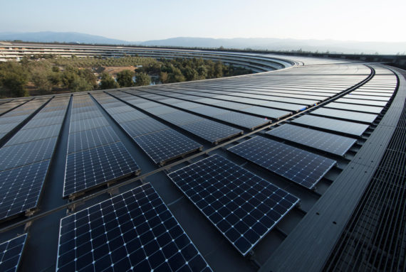 Rooftop solar system at Apple's corporate headquarters in Cupertino, California