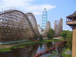 Six Flags Great Adventure's award-winning rollercoasters, El Toro (foreground) and Kingda Ka (back). Photo courtesy of Wikimedia user Paulm27.