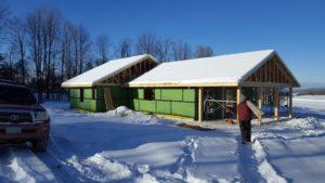 The Floersch home in Berlin, VT - work progresses through all kinds of weather. Credit: Larry Floersch.