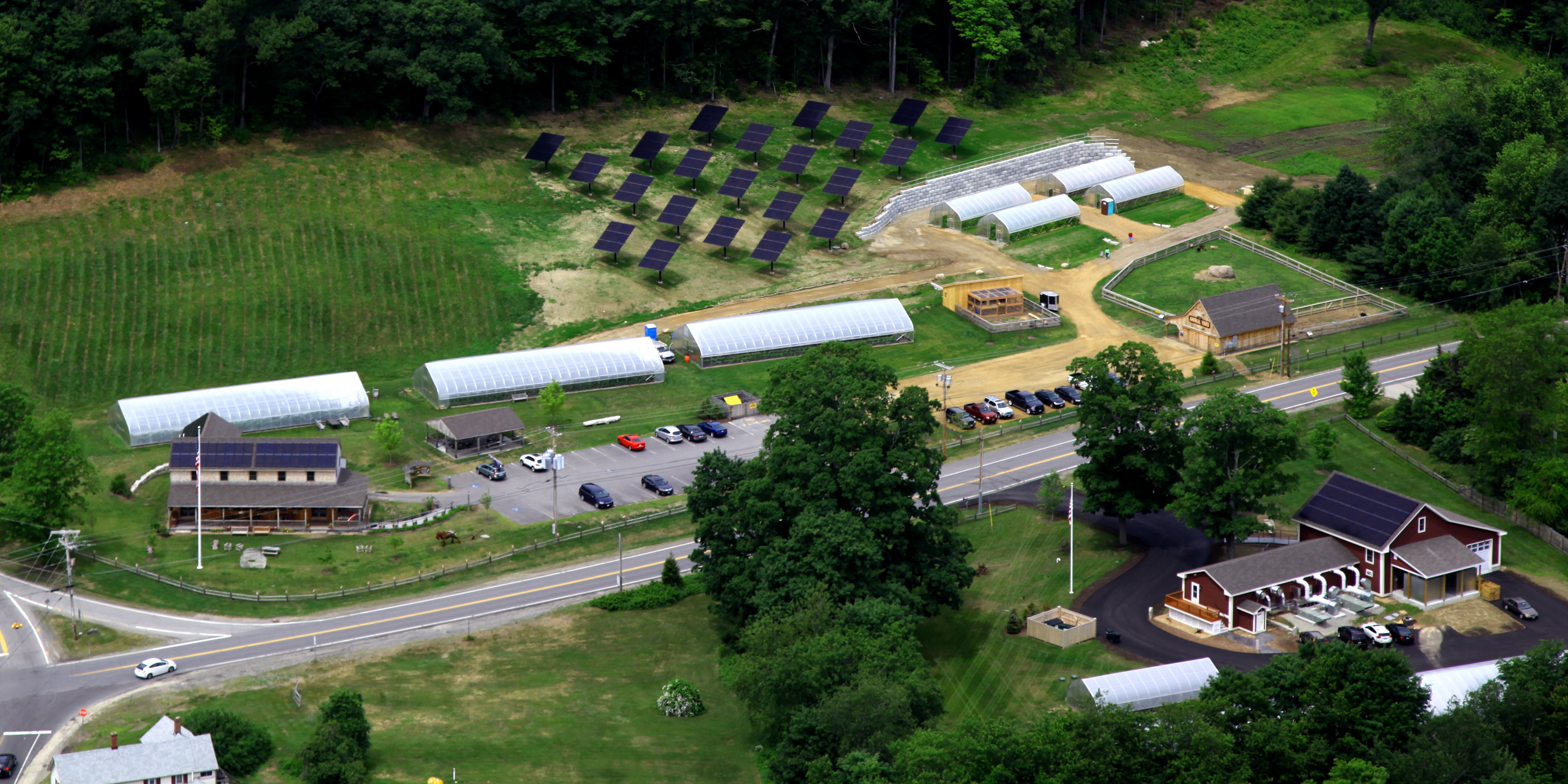 An aerial view of The Farm at Eastman's Corner and all of its solar arrays. Image © Farm at Eastman's Corner