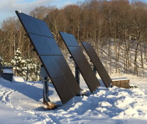 Mallery's solar array angle is set for winter to help with snow shedding and to maximize the capture of the sun's rays.