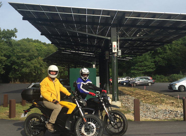 Steven and Hunter Strong charge their Zeros at the new Thoreau Memorial Visitor's Center at Walden Pond. Courtesy photo.